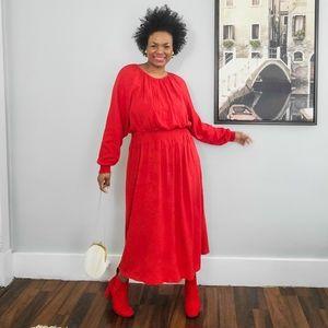 H&M Color Blocking Midi Textured Dress, Large